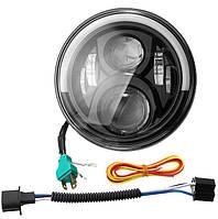 Фара светодиодная LED  7 дюймов, круглая, 1 шт, 75 Вт (УАЗ,ГАЗ,Камаз,Jeep Nissan,FJ Cruiser,Harley Davidson)