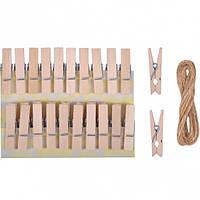 Прищепки деревянные декоративные простые 20шт 3,5*0,6см 4-203