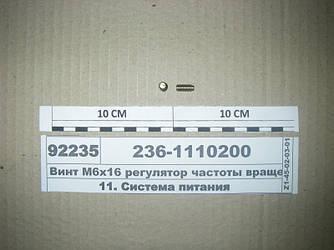 Винт М6х16 регулятор частоты вращения (пр-во ЯЗДА) 236-1110200