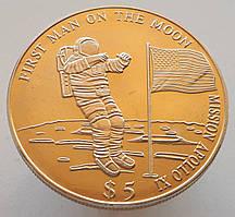 Либерия 5 долларов 2000 - «Миссия Аполло́н-11 - Первый человек на луне»
