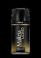 Дезодорант Malizia Uomo мужской парфюмированный Золото, 150мл