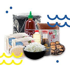 Набор продуктов «Sun RICE»для приготовления вегетарианского риса с тофу и шиитаки и мисо-супа