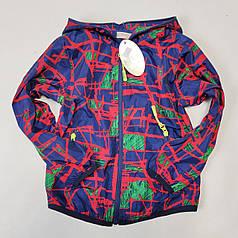 Детская куртка ветровка для мальчика абстракция красная 5-6 лет