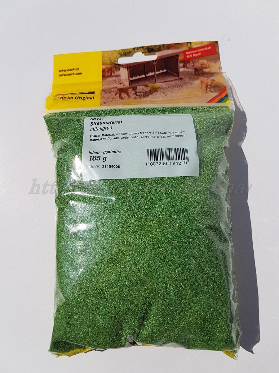 """Noch 08421 Присыпка """"средне зеленая"""" для создания ланшафтного дизайна, вес 165 гр., для всех масштабов"""