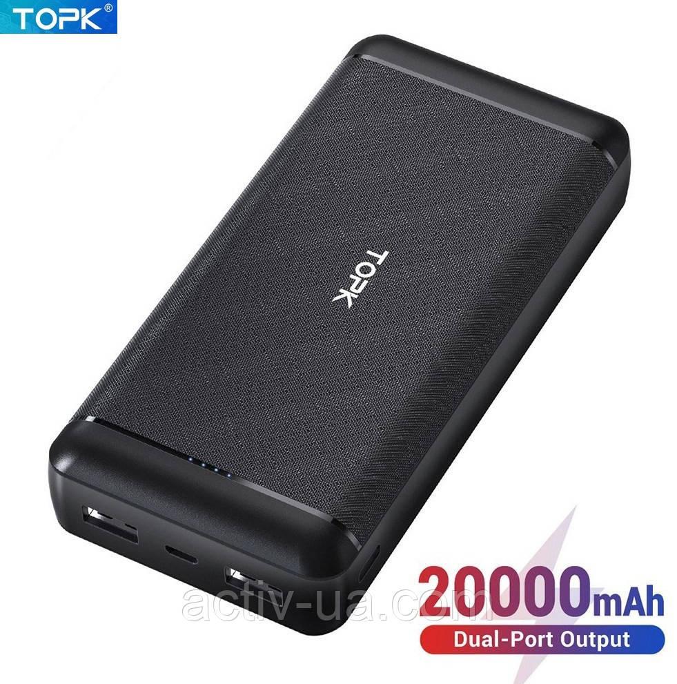 Power Bank Topk I2007 на 20000mAh 2xUSB / 2 входа - microUSB, USB Type-C для мобильных телефонов, планшетов