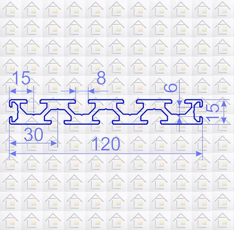 Алюминиевый конструкционный станочный профиль 120х15 анодированный, фото 2