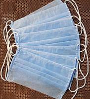 Повязка- маска одноразовая (от 10 шт) голубая, фото 1