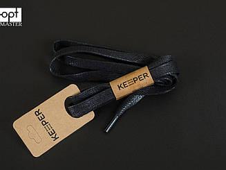 Шнурки (в упаковке) плоские вощеные 9 мм, 90 см, цв. чёрный