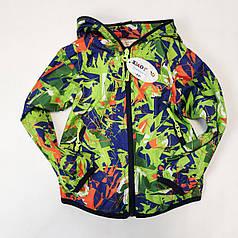 Детская куртка ветровка для мальчика салатовая 2-3 года