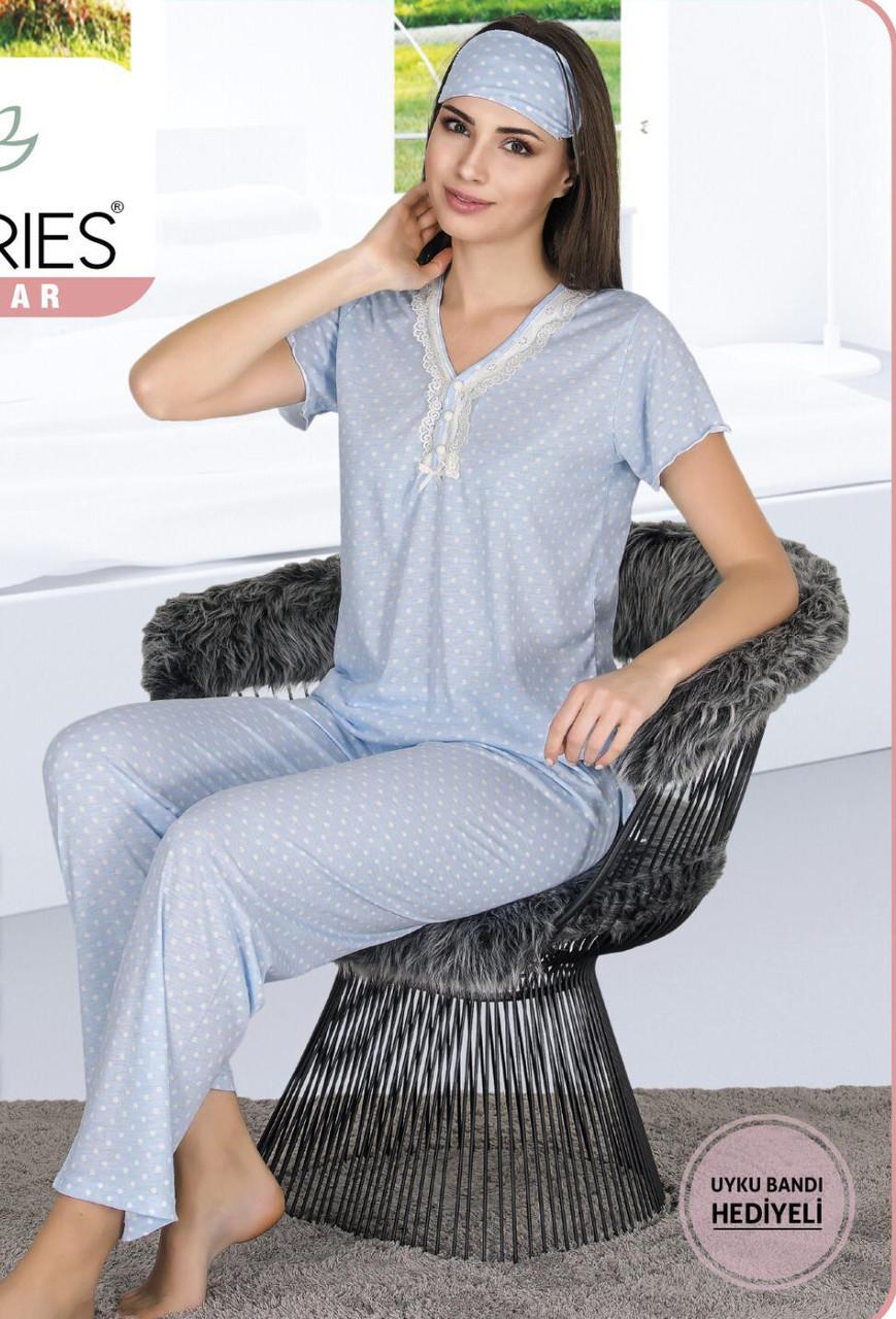 Жіноча літня котонова піжама з пов'язкою Le'Maries