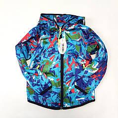 Детская куртка ветровка для мальчика голубая 2-3 года