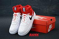 Кроссовки мужские Nike Air Force  в стиле Найк Аир Форс белые с красным высокие
