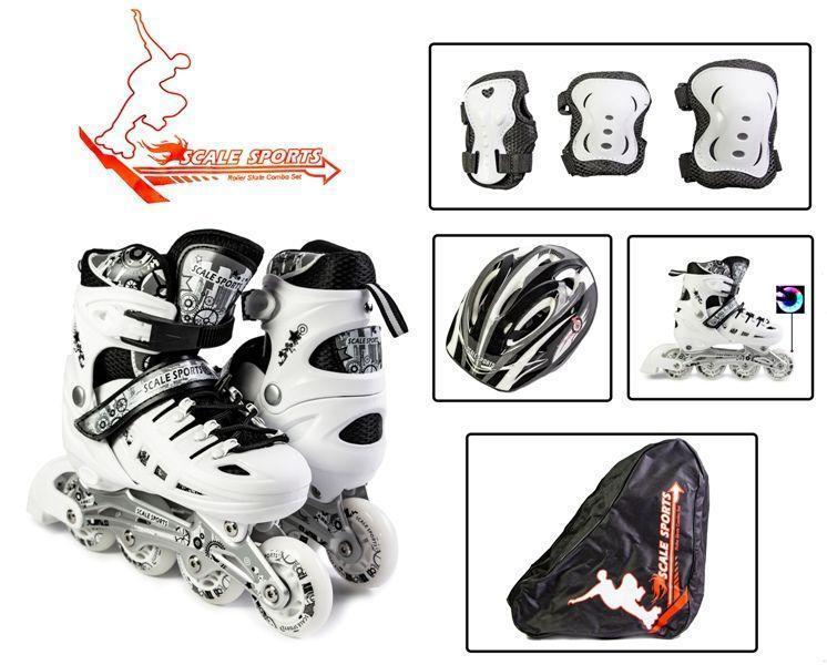 Роликовые коньки с комплектом защиты Scale Sport. White, размер 34-37