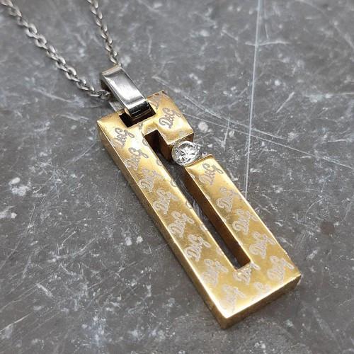 Кулон з ювелірної стали прямокутний з фианитом для жінок 35 мм 175542