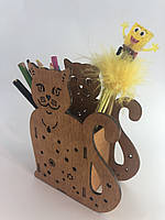 Подставка органайзер для ручек и карандашей из дерева, фото 1
