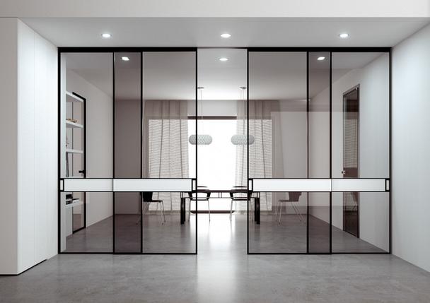 Интерьерные раздвижные системы и перегородки из алюминия и стекла графит, фото 2