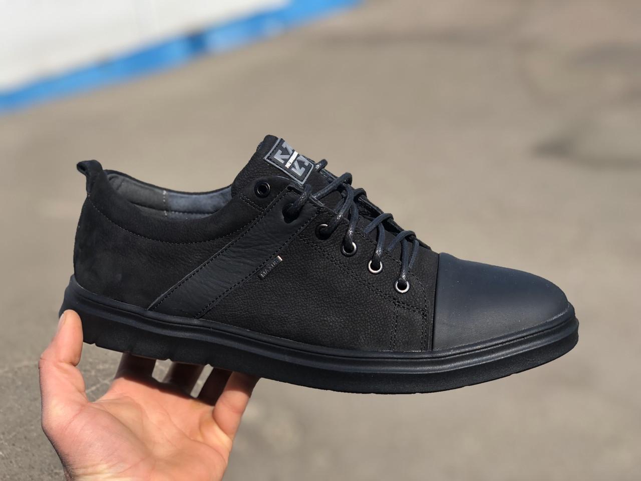Мужские спортивные туфли натуральный замш черные Maxus большие размеры:46,47,48