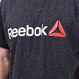 Чоловіча спортивна футболка Reebok великого розміру, темно-сірого кольору, фото 2