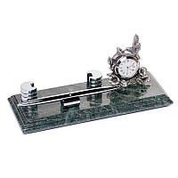 Настольная визитница BST 540036 24х10 с подставкой под ручку и часами мраморная
