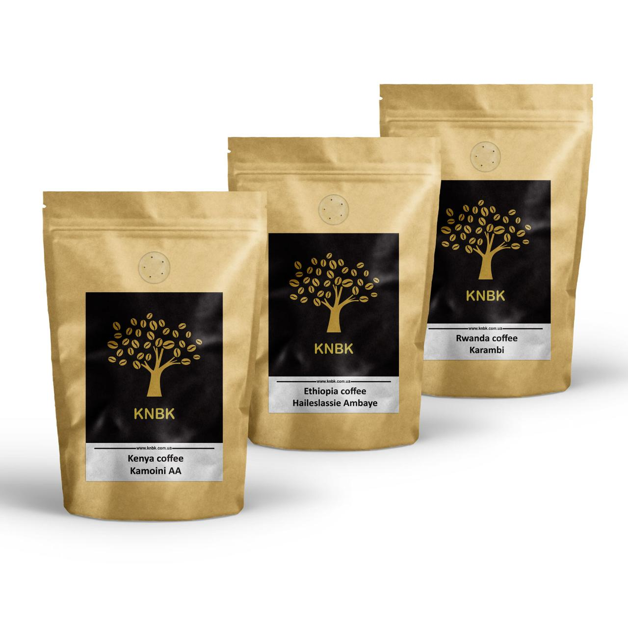 Набор кофе светлой обжарки под фильтр Rwanda Karambi/Ethiopia Haileslassie/Kenya Kamoini 300 грамм