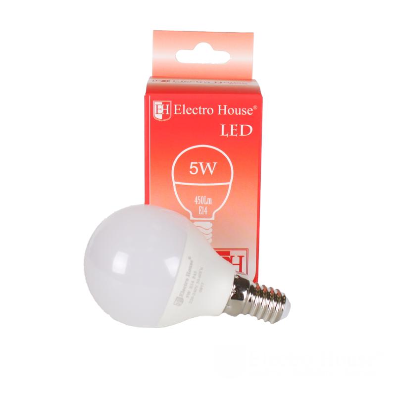 "Светодиодная лампа ElectroHouse ""шар"" P45 Е14 5W 4100K 450Lm"