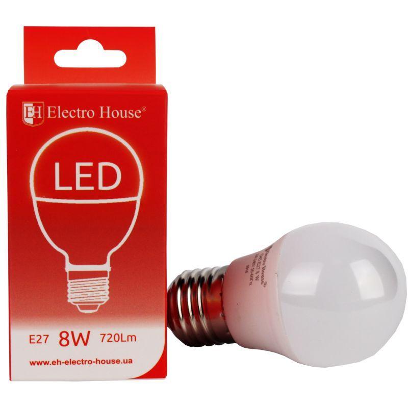 "Светодиодная лампа ElectroHouse ""шар"" E27 8W G45 4100K 720Lm"