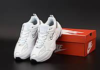 Кроссовки мужские Nike M2K Tekno белые, Найк М2К Техно, натуральная кожа, прошиты. Код KD-12145