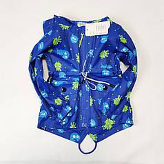 Детская куртка ветровка для мальчика голубая 3-4 года