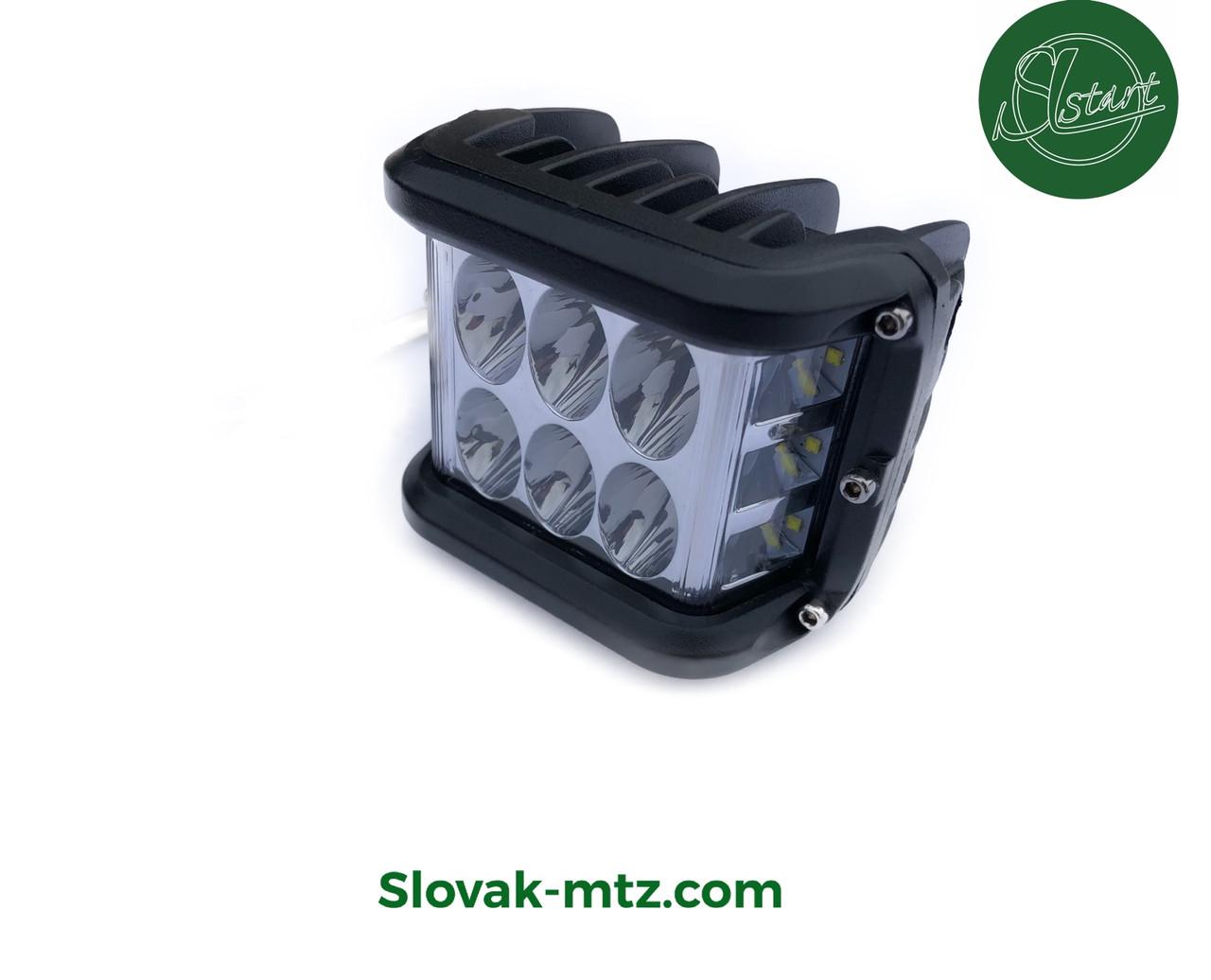 Светодиодная LED фара 60Вт  (светодиоды 5W x12шт) со стробоскопом белый/красный/синий