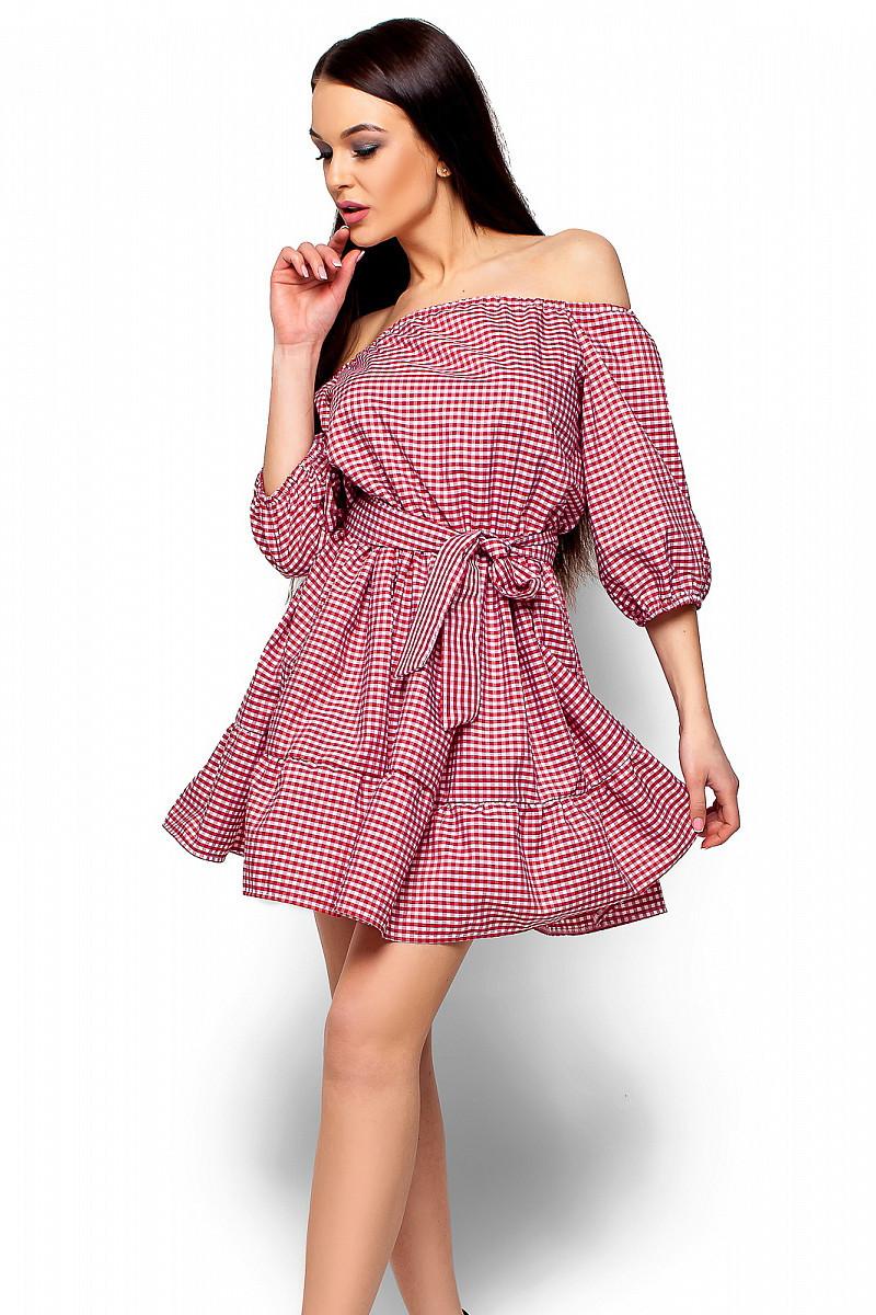 S-M | Стильне червоне плаття в клітку Jenifer