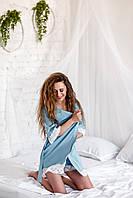 Женский летний халат с кружевом