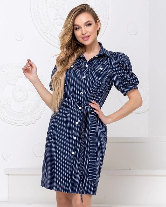 Летнее платье-рубашка с поясом белый горох на синем