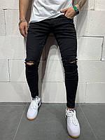Джинсы мужские чёрные классические рванные на коленях темно-серые мужские джинсы узкие потертые 32 размер