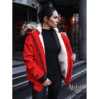 Куртка -Парка женская короткая на овчине 7292