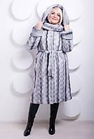 Шуба женская из искусственного меха №130 серая волна