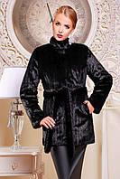 Шуба женская из искусственного меха стильная №325-2 черная