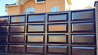 Филенчатые ворота с врезной калиткой ш5000, в2000  (филенка гладкая), фото 2