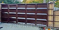 Филенчатые ворота с врезной калиткой ш5000, в2000  (филенка гладкая), фото 3