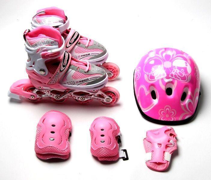 Роликовые коньки с комплектом защиты Happy. Pink, размер 34-37