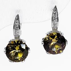 Серебряные серьги с султанитом диаспор, 1300СЛ