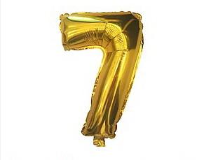 "Фольгована цифра золото ""7"" 35см Китай"