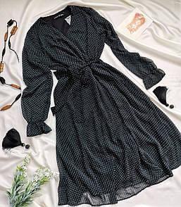 Жіноче чорне плаття в горошок міді