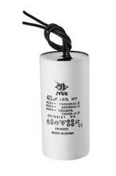 CBB60 10 mkf ~ 450 VAC (±5%)  конденсатор для пуску і роботи, гнучкі дротяні виводи (35*60 mm)