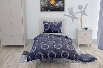 Комплект односпального постельного белья с простынью на резинке Halftones Звёздное небо Ранфорс (HT2070)