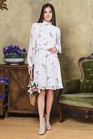 Платье красивое белое в цветочек с буфами Joanna S, M, L, XL