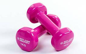 Гантели для фитнеса с виниловым покрытием Zelart Beauty TA-5225-1 (1x1кг)