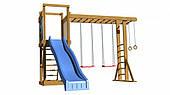 Детская площадка SportBaby №15 с горкой рукоходом качелями деревянная