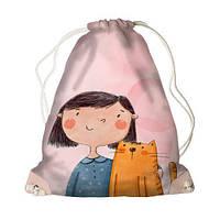 Детский рюкзак-мешок для игрушек,обуви Девочка с котом