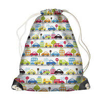 Детский рюкзак-мешок для игрушек,обуви Машинки на белом фоне