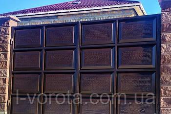 Филенчатые ворота распашные 3400×2200 (филенка с эффектом жатки)